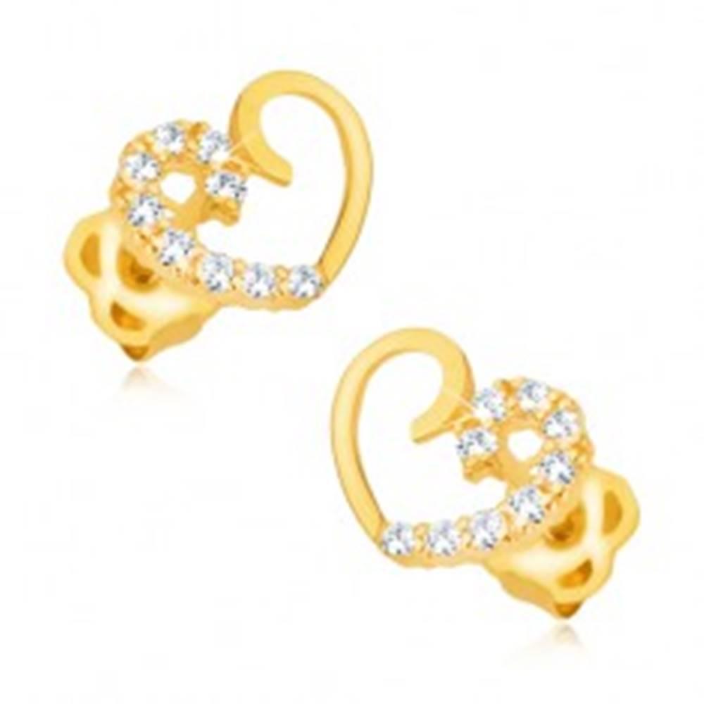 Šperky eshop Náušnice zo žltého 9K zlata - kontúra symetrického srdca, zirkónová línia