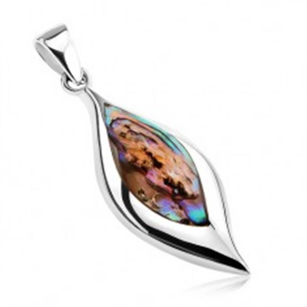 Šperky eshop Prívesok - striebro 925, list s Paua mušľou, zrkadlovolesklý lem