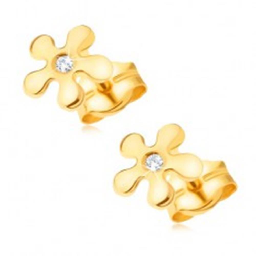 Šperky eshop Zlaté náušnice 585 - ligotavý kvietok s čírym okrúhlym diamantom