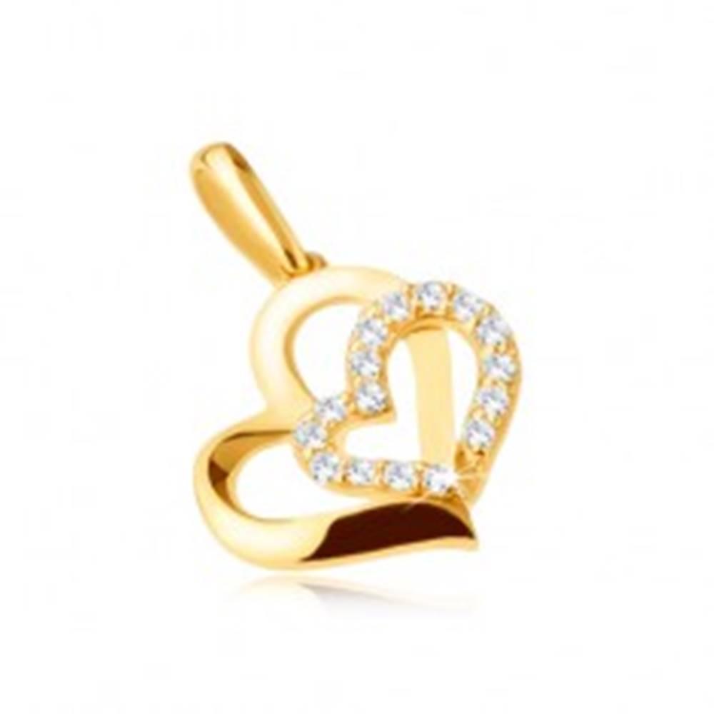 Šperky eshop Zlatý prívesok 375 - dve asymetrické kontúry srdiečok, kamienky