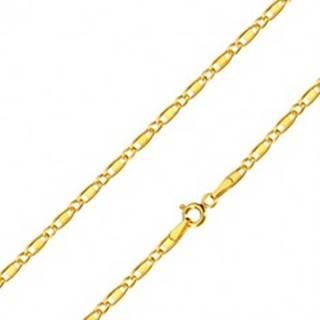 Retiazka zo žltého 14K zlata - oválne očká, podlhovasté očká s obdĺžnikom, 450 mm