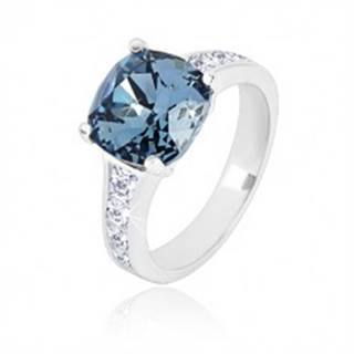 Strieborný prsteň 925 - zirkónový štvorec tmavomodrej farby a číre zirkóny - Veľkosť: 49 mm