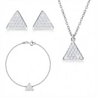 Trojdielna sada, striebro 925 - rovnostranný trojuholník so zirkónmi, retiazka