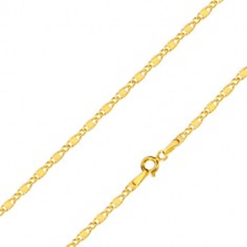 Šperky eshop Retiazka v žltom 14K zlate - podlhovasté očká s lúčovitým ryhovaním a oválne očká, 550 mm