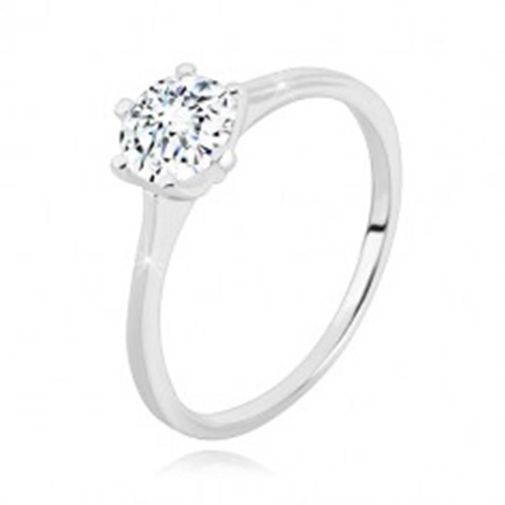 Šperky eshop Strieborný 925 prsteň - úzke ramená, ligotavý zirkón v transparentnom odtieni, 6 mm - Veľkosť: 49 mm