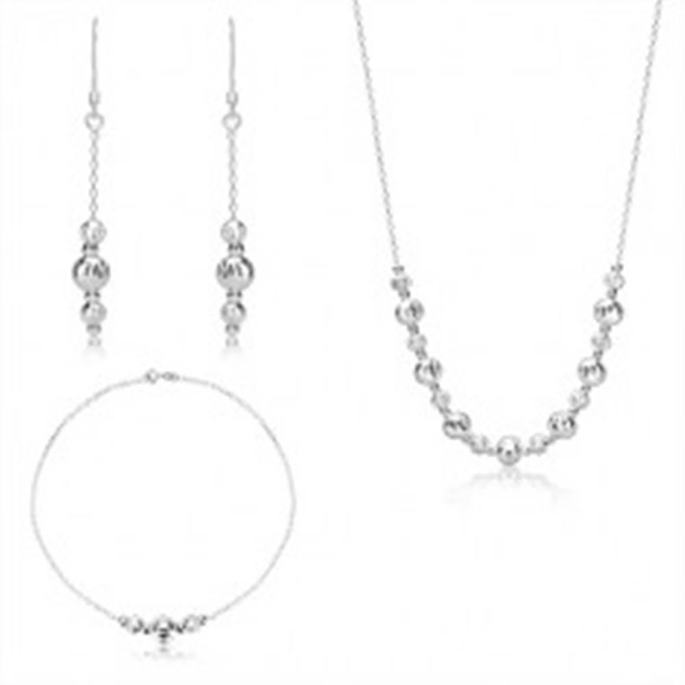 Šperky eshop Strieborný trojset 925 - guličky s polmesiacovými zárezmi, ligotavá retiazka