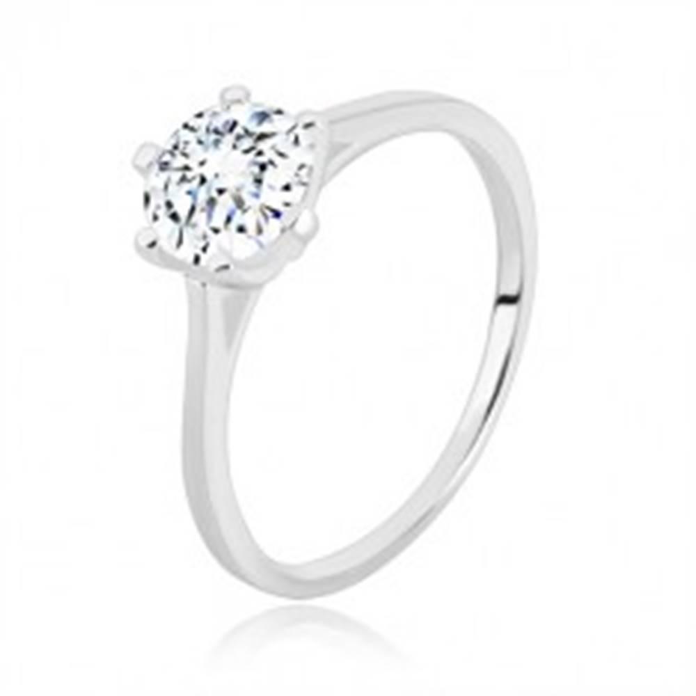 Šperky eshop Zásnubný prsteň zo striebra 925 - úzke ramená, trojuholníky a zirkón, 7 mm - Veľkosť: 49 mm