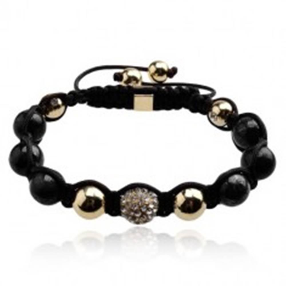 Šperky eshop Náramok Shamballa - gulička s čírymi zirkónmi, korálky čiernej a zlatej farby