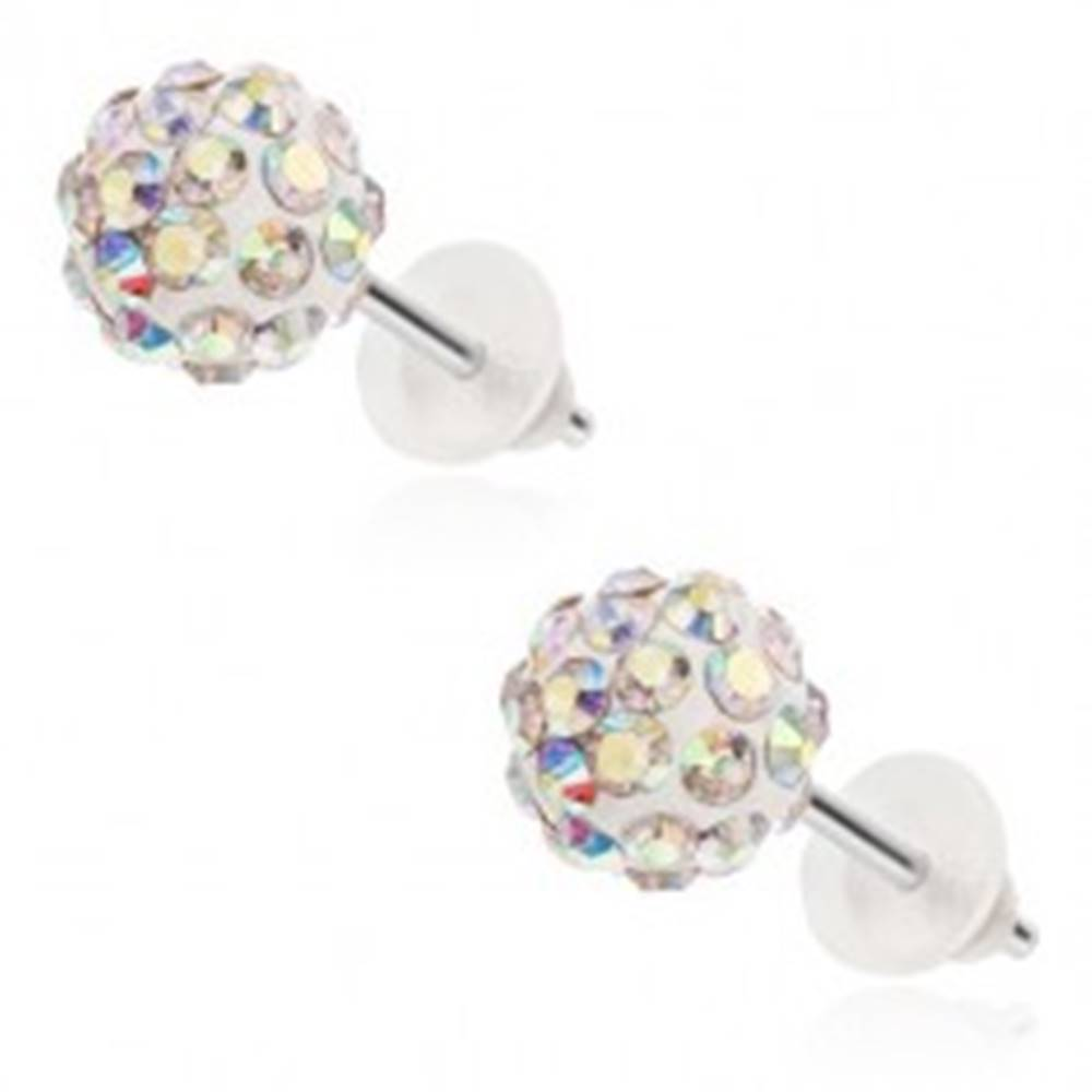 Šperky eshop Oceľové náušnice Shamballa - biele guličky, zirkóniky s dúhovým odleskom, 8 mm