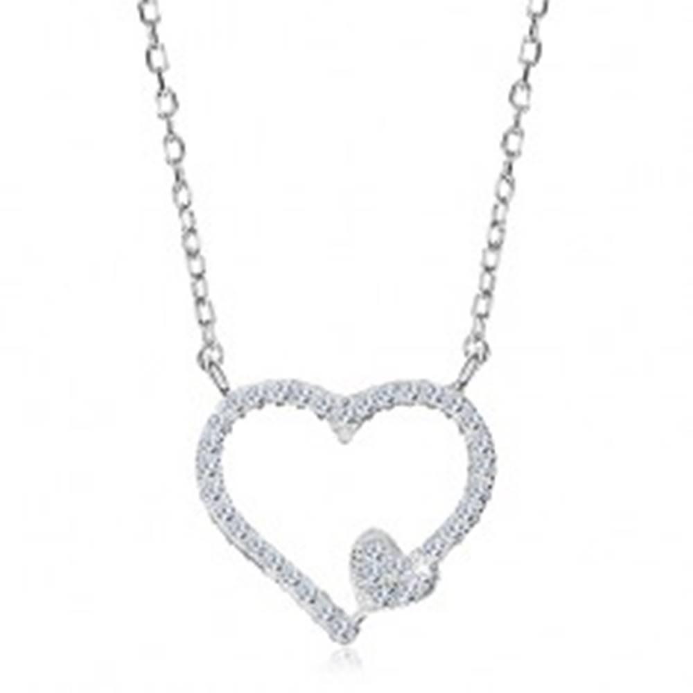 Šperky eshop Ródiovaný náhrdelník, striebro 925, zirkónová kontúra srdca a malé srdiečko