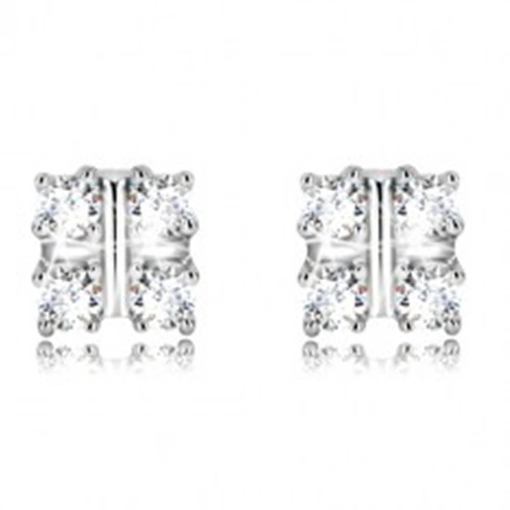 Šperky eshop Strieborné náušnice 925 - štvorcový košíček s trblietavými zirkónmi, puzetky