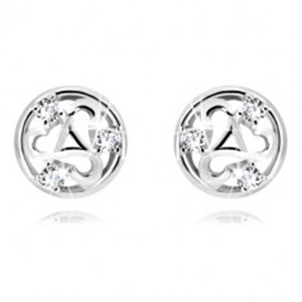 Šperky eshop Strieborné náušnice 925 - vyrezávaný kruh, triskelion s trojuholníkom a tri zirkóny