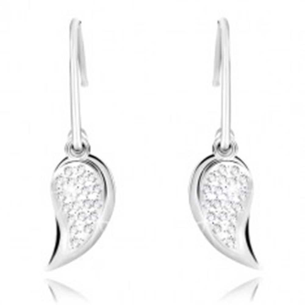 Šperky eshop Strieborné náušnice 925 - žiarivé krídelko so zirkónmi a zrkadlovolesklé krídlo