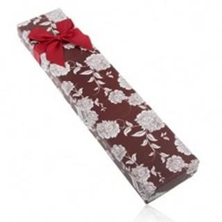 Darčeková krabička na náhrdelník alebo náramok, hnedý odtieň, biele kvety