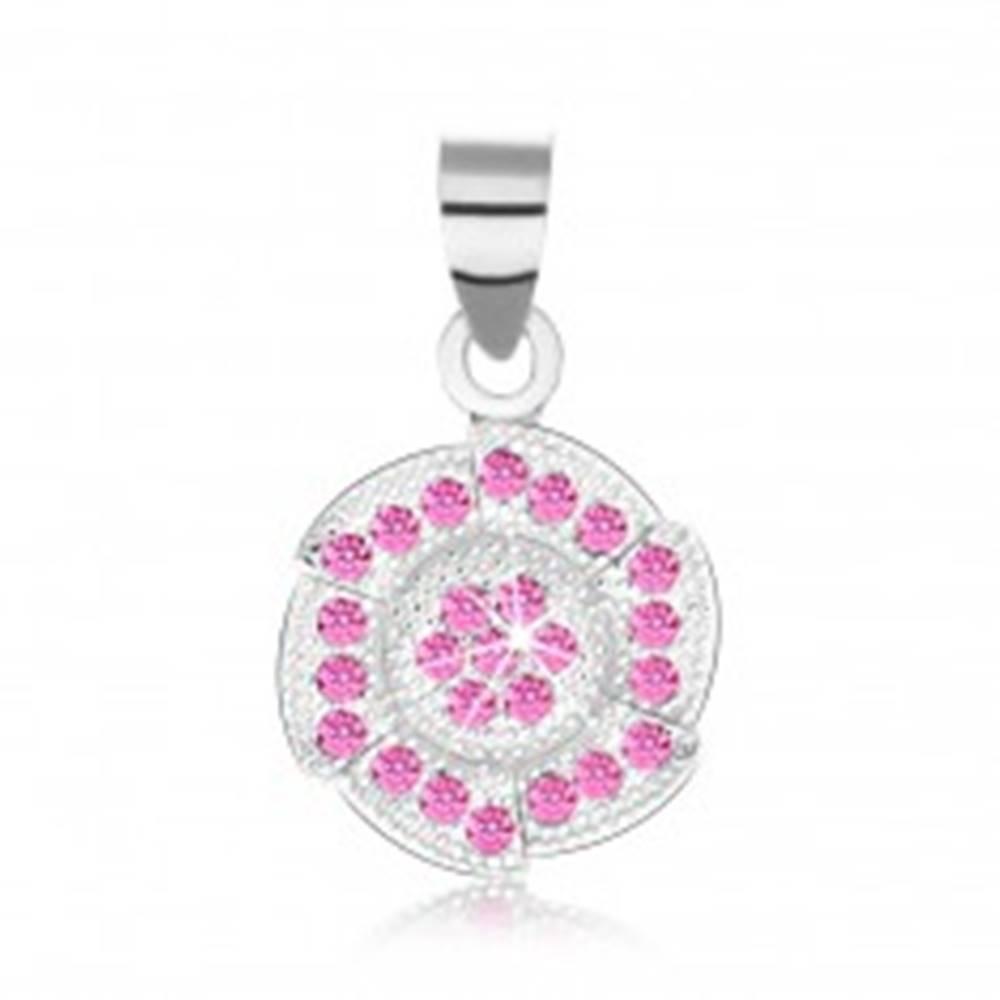 Šperky eshop Prívesok, striebro 925, zaoblený šesťuholník, ružové zirkóniky, gravírované guličky