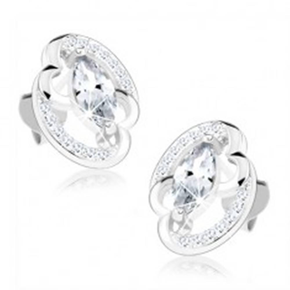 Šperky eshop Strieborné náušnice 925, ligotavý ovál s výrezmi, vlnovka, číre zirkónové zrnko
