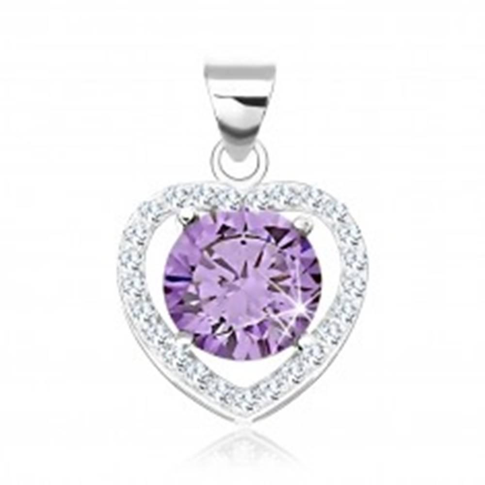 Šperky eshop Strieborný prívesok 925, kontúra srdca s čírymi zirkónmi, zirkón tanzanitovej farby