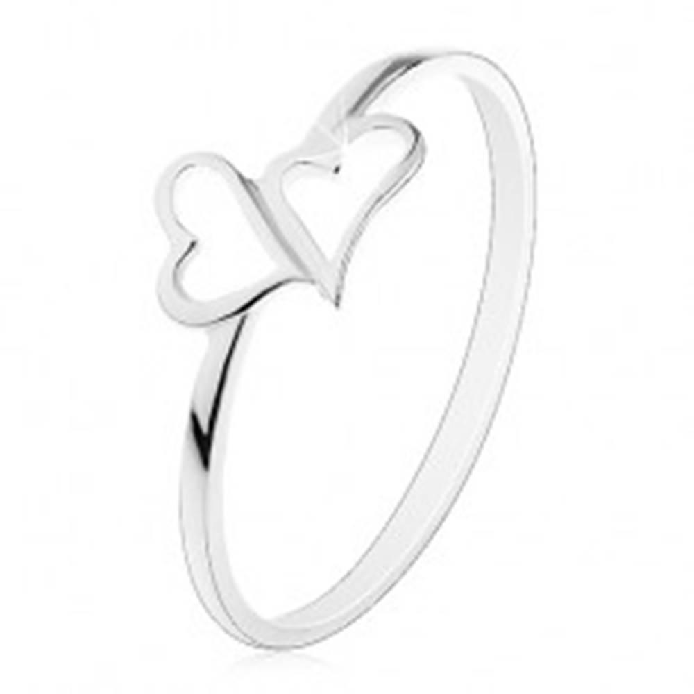 Šperky eshop Strieborný prsteň 925 - dve asymetrické kontúry sŕdc, tenké ramená - Veľkosť: 54 mm