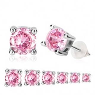 Náušnice zo striebra 925 - okrúhly ružový zirkón v kotlíku, puzetky - Veľkosť zirkónu: 3 mm