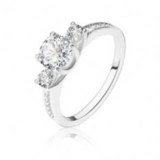 Strieborný prsteň 925 - okrúhly zirkón, dve zirkónové slzičky, ramená so zirkónikmi - Veľkosť: 52 mm