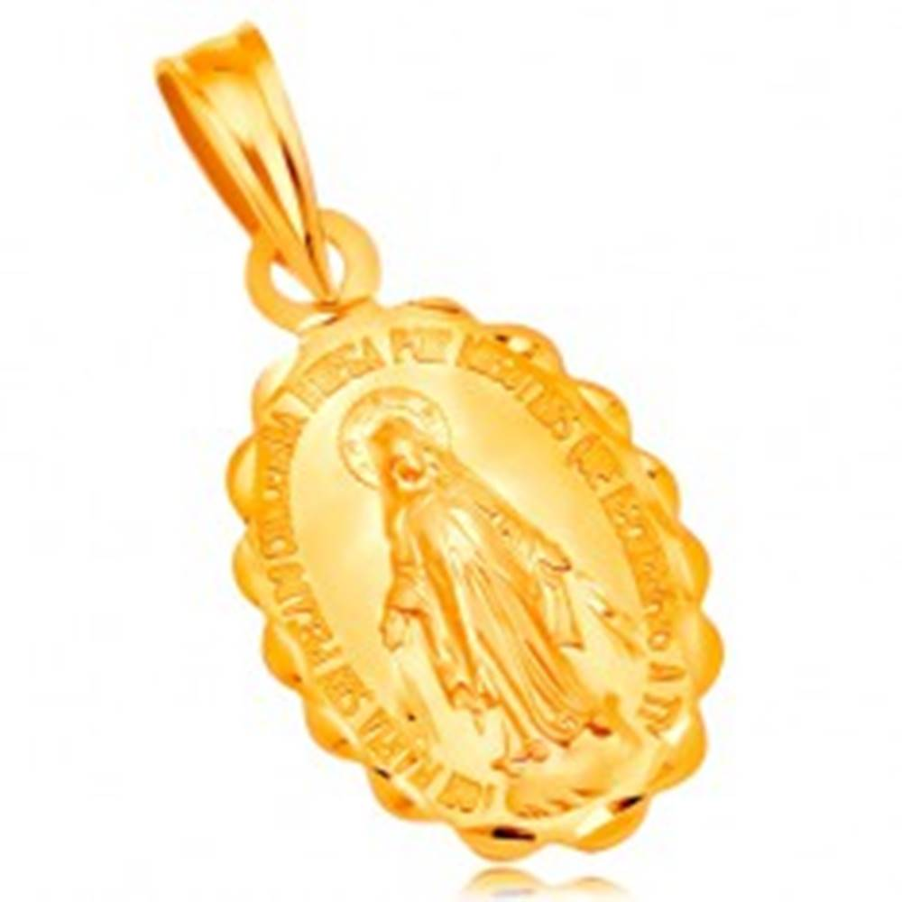 Šperky eshop Prívesok zo žltého 14K zlata - oválny medailón Panny Márie, obojstranný