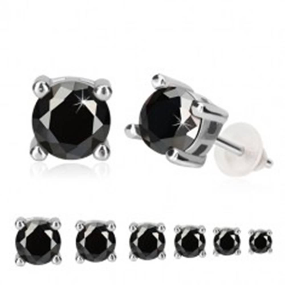 Šperky eshop Strieborné náušnice 925 - čierny okrúhly zirkón v kotlíku, obdĺžnikový výrez, puzetka - Veľkosť zirkónu: 3 mm