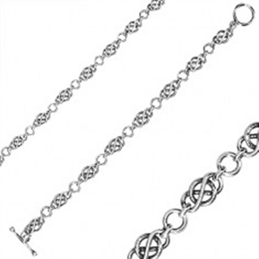 Šperky eshop Strieborný náramok 925 - mohutná retiazka, keltský uzol, okrúhle očká, americké zapínanie