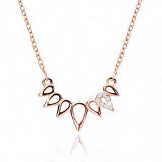 Strieborný náhrdelník 925 medenej farby - korunka z kvapiek, číre zirkóny