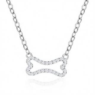 Strieborný náhrdelník 925 - zirkónová kostička, list, lesklá retiazka z oválnych očiek