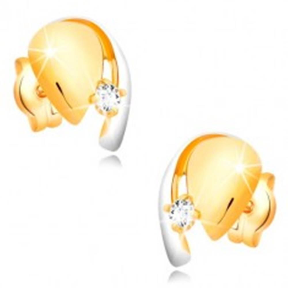 Šperky eshop Náušnice z kombinovaného zlata 585 - slza s čírym zirkónom a líniou bieleho zlata