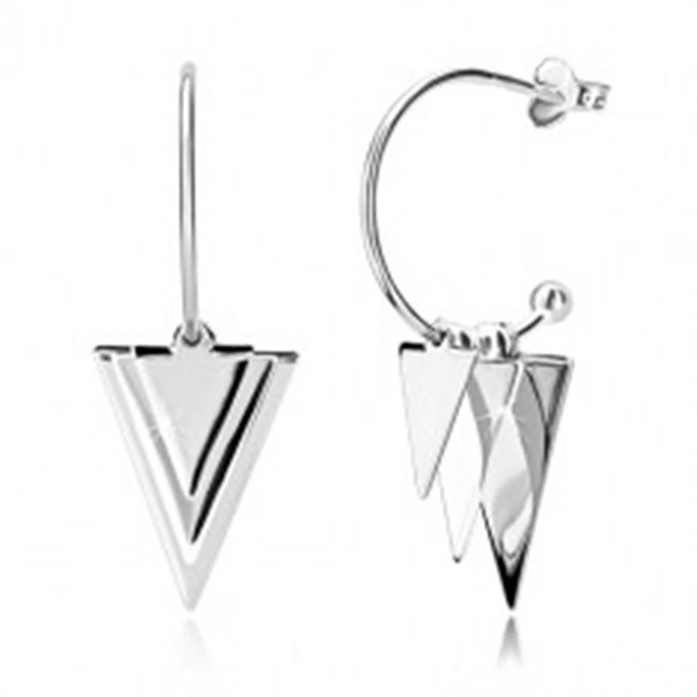 Šperky eshop Strieborné náušnice 925 - lesklé trojuholníky a guličky, úzky ublúk s guličkou, puzetky
