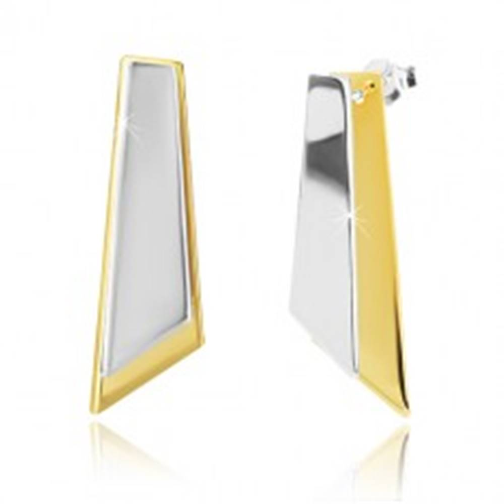 Šperky eshop Strieborné náušnice 925 - nepravidelné štvoruholníky zlatej a striebornej farby