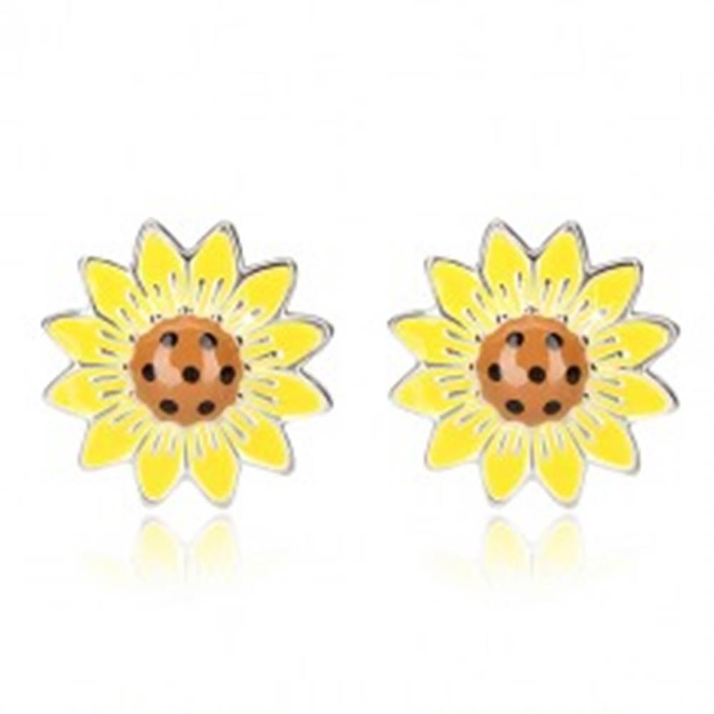 Šperky eshop Strieborné náušnice 925 - slnečnica s bodkami a striebornými líniami, puzetky
