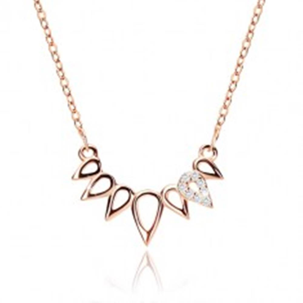 Šperky eshop Strieborný náhrdelník 925 medenej farby - korunka z kvapiek, číre zirkóny