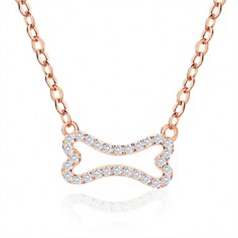 Šperky eshop Strieborný náhrdelník 925 ružovozlatej farby - zirkónová kostička, jemná retiazka, karabínka