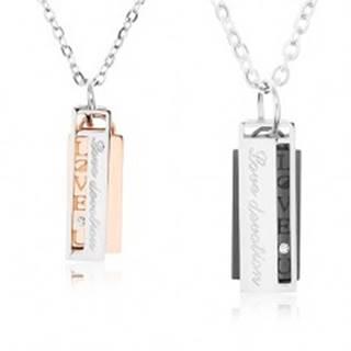 """Set oceľových náhrdelníkov pre pár, obdĺžniky s výrezom, """"Love devotion"""""""