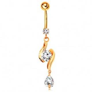 Zlatý 375 piercing do pupku - dve lesklé vlnky so zirkónom v strede a slza
