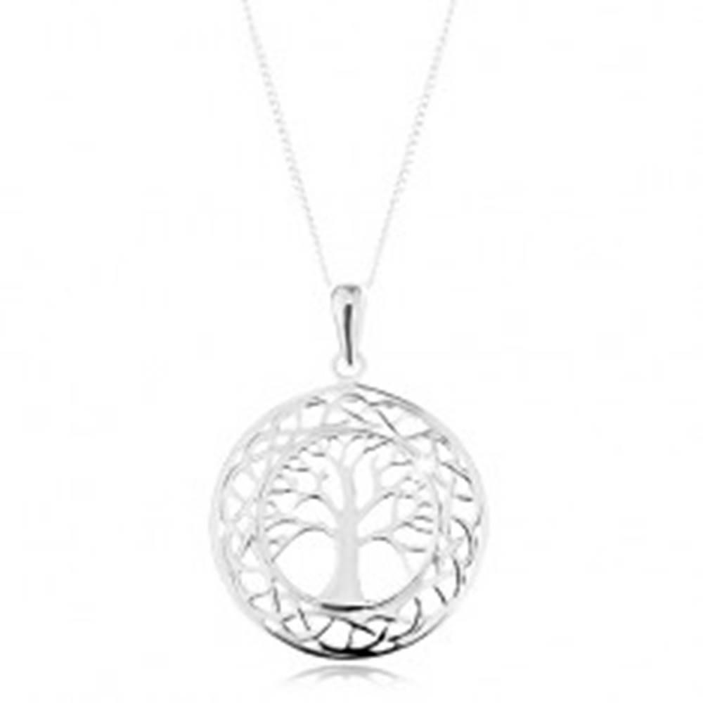 Šperky eshop Náhrdelník zo striebra 925, prívesok na retiazke - vyrezávaný kruh, košatý strom