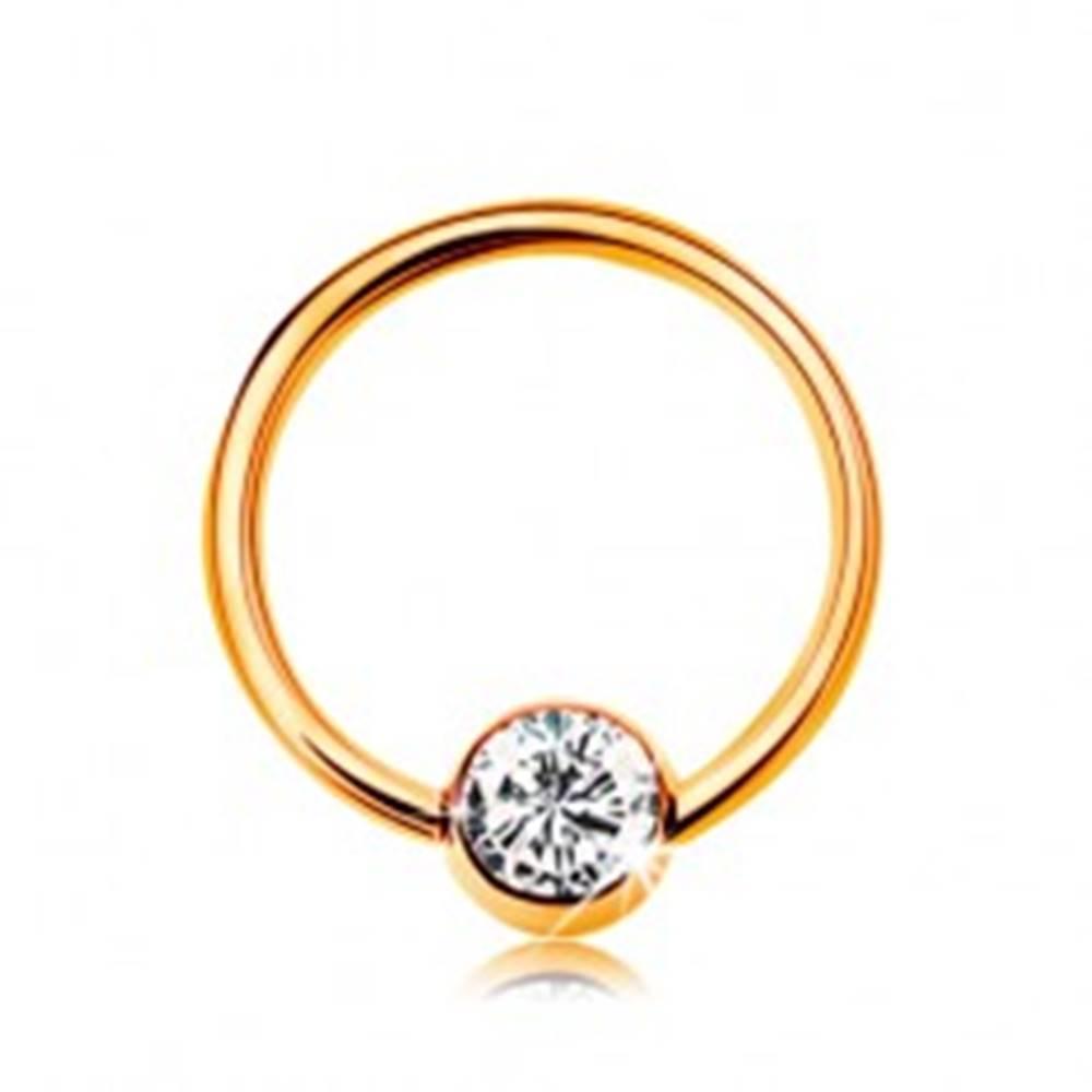 Šperky eshop Piercing zo žltého 9K zlata - malý krúžok s guličkou, číry zirkón, 8 mm