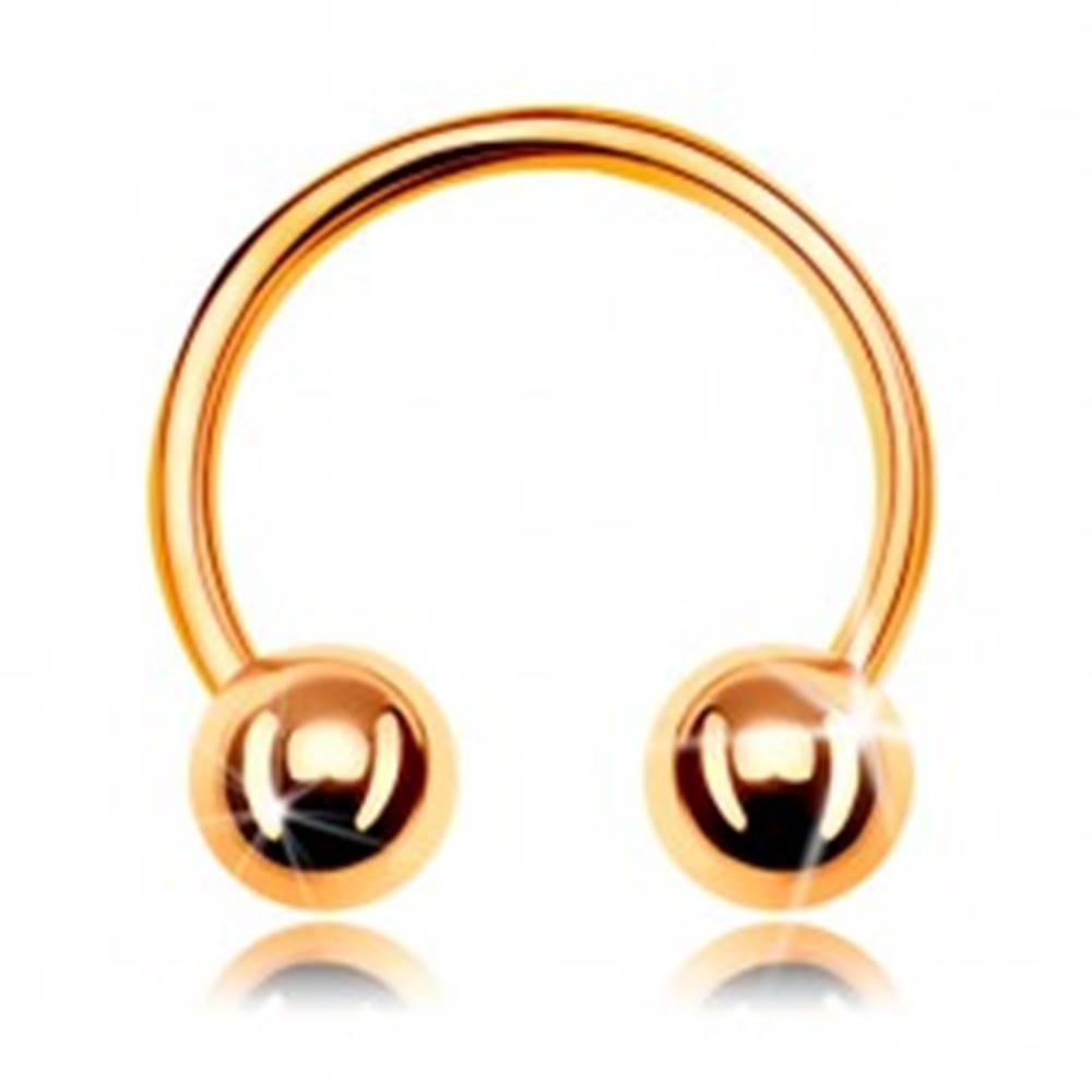 Šperky eshop Piercing zo žltého zlata 375, lesklá podkova ukončená dvoma guličkami