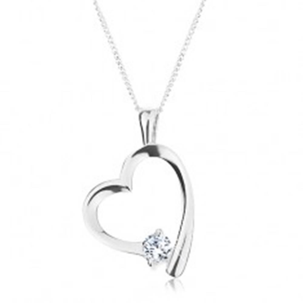 Šperky eshop Strieborný náhrdelník 925, retiazka a prívesok, lesklá kontúra srdca so zirkónom