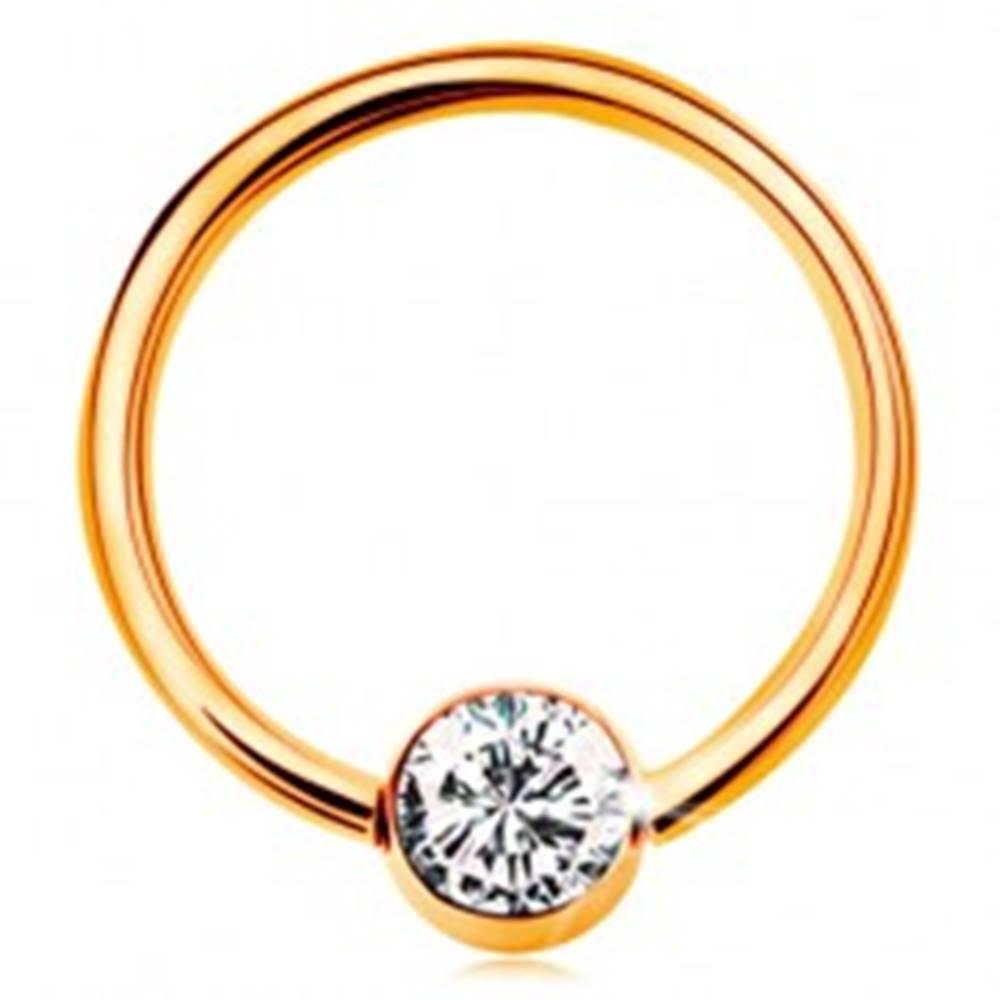 Šperky eshop Zlatý piercing 375 - krúžok s guličkou a vsadeným čírym zirkónom, 12 mm