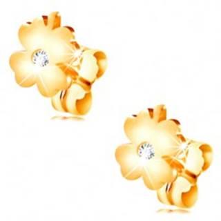 Diamantové náušnice zo žltého 14K zlata - lesklý štvorlístok s čírym briliantom