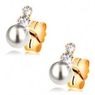 Puzetové náušnice zo žltého 14K zlata - dva číre zirkóny a perla bielej farby