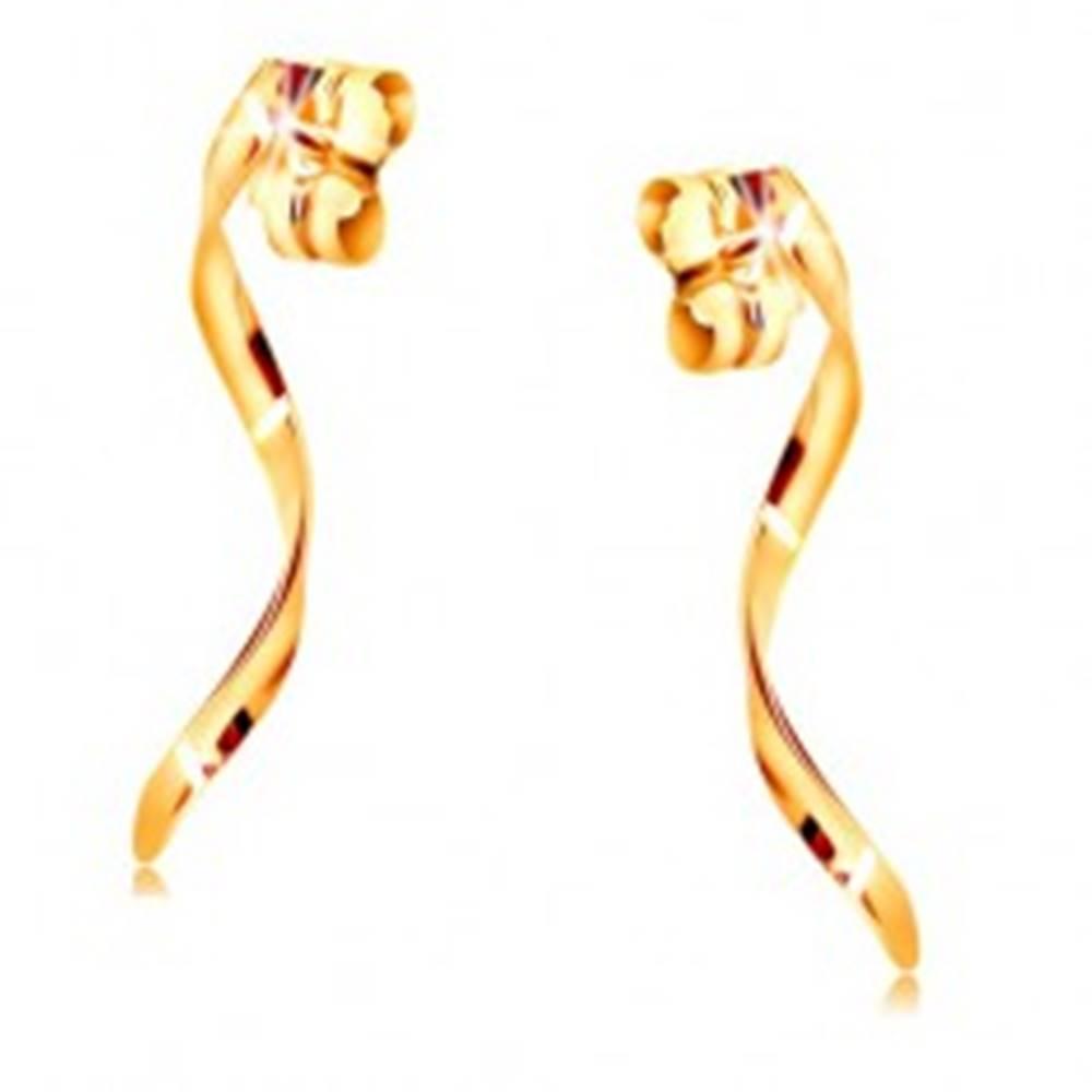 Šperky eshop Náušnice zo žltého 14K zlata - lesklá zvlnená línia na puzetke