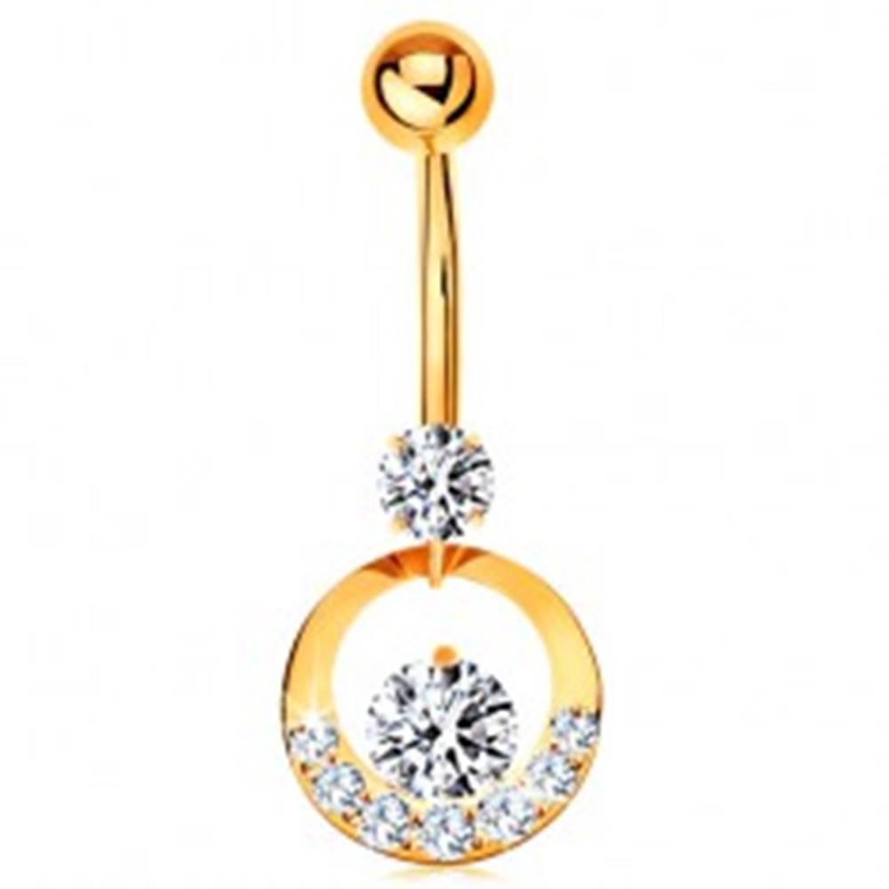 Šperky eshop Piercing do pupka - žlté 9K zlato, obruč zdobená zirkónmi čírej farby
