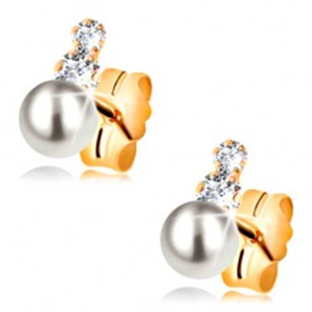 Šperky eshop Puzetové náušnice zo žltého 14K zlata - dva číre zirkóny a perla bielej farby