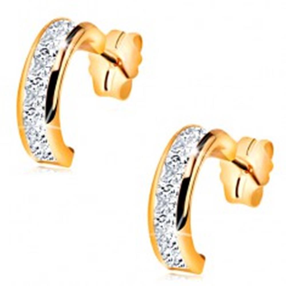 Šperky eshop Puzetové náušnice zo žltého 14K zlata - polkruhy s brúsenými čírymi zirkónmi
