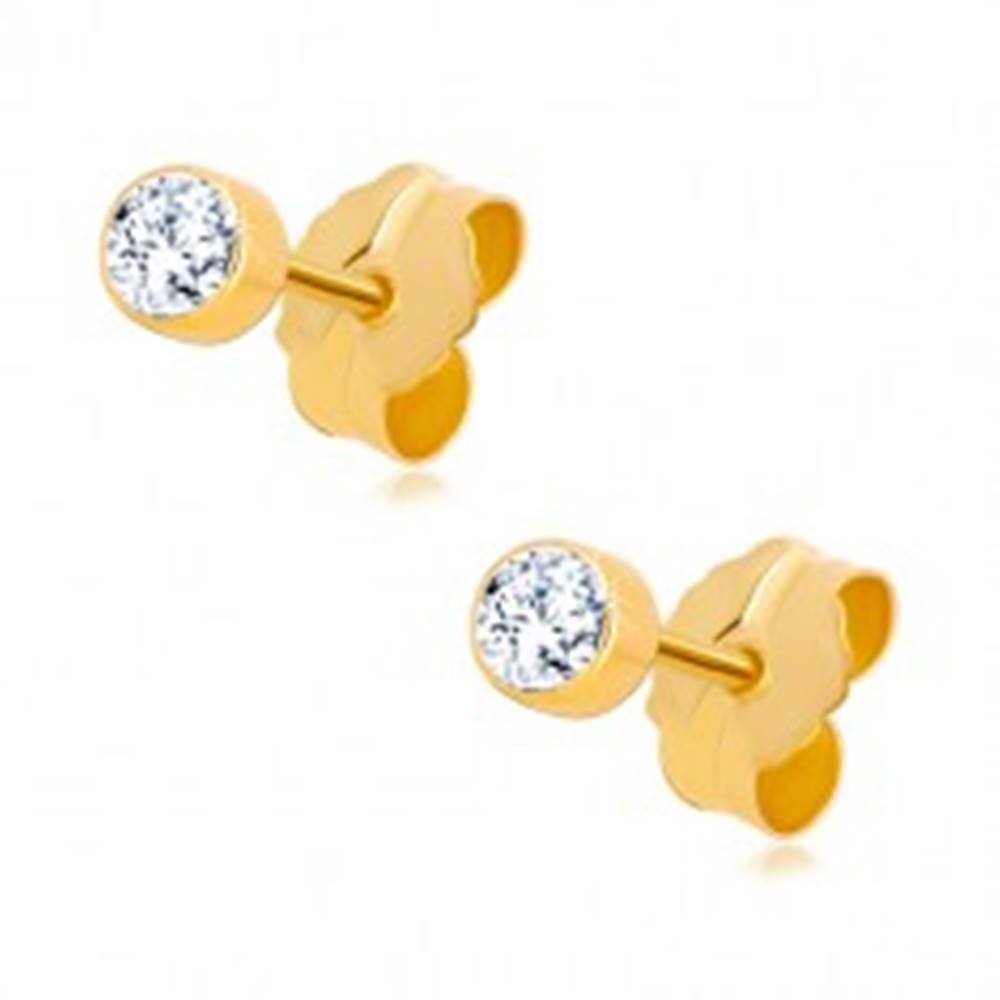 Šperky eshop Zlaté 14K náušnice - okrúhly zirkónik čírej farby v objímke, 3 mm