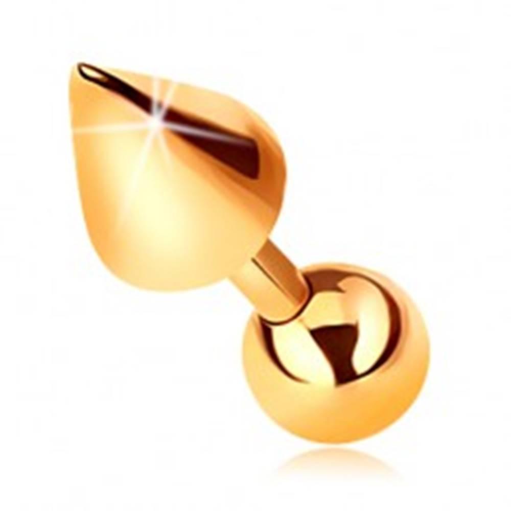 Šperky eshop Zlatý 9K piercing - lesklá rovná činka s guličkou a kužeľom do tragusu, 5 mm
